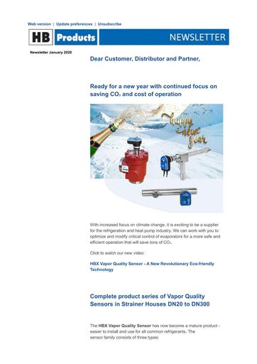 Newsletter HB Products Jan 2020